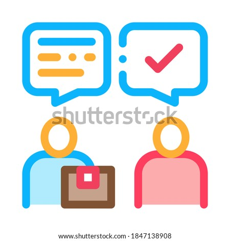 Conversation of Sender and Postman Postal Transportation Company Icon Vector Illustration Stock photo © pikepicture