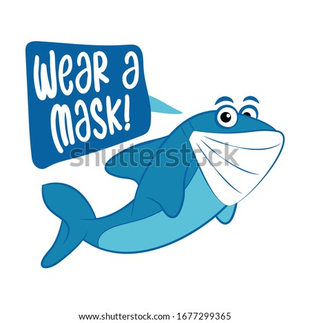 wear a mask   cute shark illustration awareness lettering phrase stock photo © zsuskaa