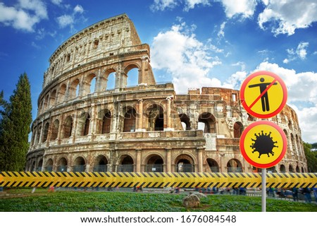 Stock photo: Warning sign with crossed out Coronavirus molecule on the background of Italian flag.