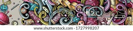 Handmade hand drawn doodle banner. Cartoon detailed flyer. Stock photo © balabolka