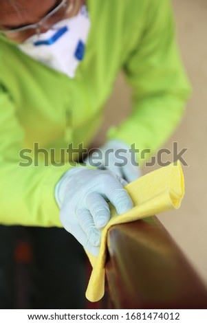 Deep cleaning of surface with alcohol for virus desease preventi Stock photo © boggy