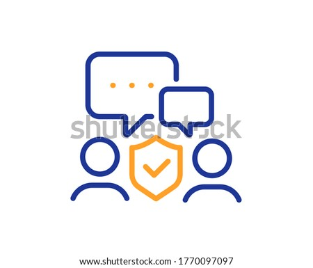 Tarcza line ikona czat bańki projektu ochrony Zdjęcia stock © kyryloff