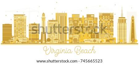Virginia plaży złoty sylwetka proste Zdjęcia stock © ShustrikS