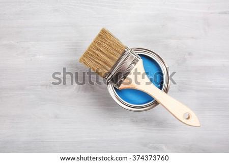 Pincel abrir lata azul pintar Foto stock © laciatek