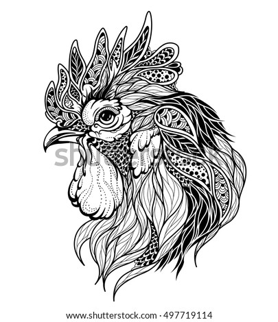 Zentangle rooster head. Hand drawn decorative vector illustration for coloring. Color and outline se Stock photo © Natalia_1947