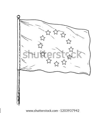 European union flag and hand on white background. Vector illustration Stock photo © butenkow