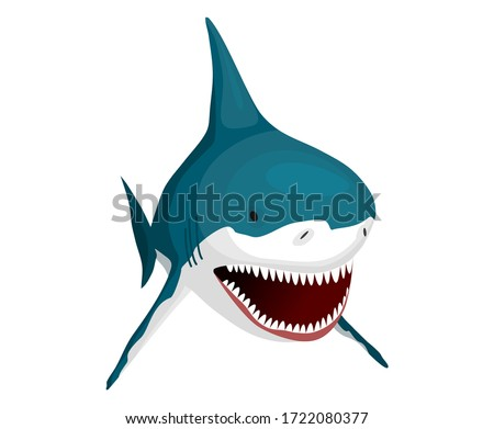 Shark. Big dangerous marine predator. Toothy swimming angry shark. Underwater character of sea anima Stock photo © designer_things
