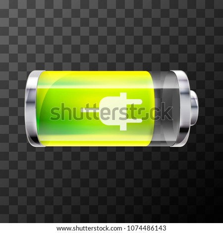Eighty percent bright glossy battery icon with charging symbol on Stock photo © evgeny89