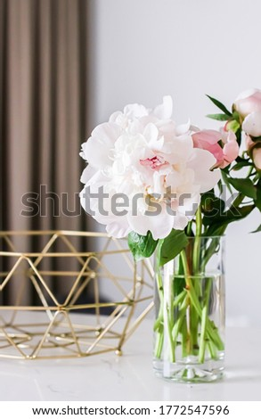 Chic bouquet of peony flowers in vase as home decor idea, luxury interior design and decoration Stock photo © Anneleven