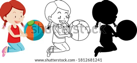 Girl holding the ball with its silhouette Stock photo © bluering