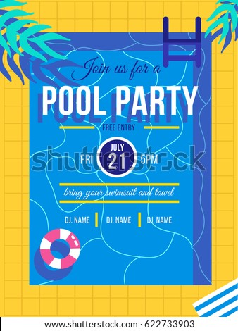 Summer Pool Party Poster Design Template with Palm Leaves, Water and Beach Ball on Blue Underwater O Stock photo © articular