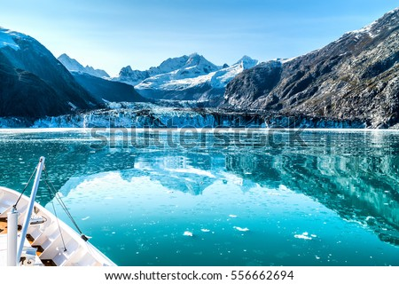 Cruise ship in Glacier Bay cruising towards Johns Hopkins Glacier in Alaska, USA. Panoramic view dur Stock photo © Maridav