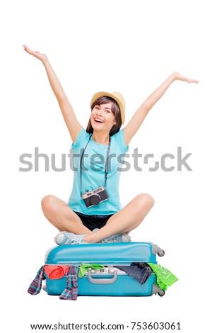 sonriendo · caucásico · mujer · maleta · viajero · aislado - foto stock © Qingwa