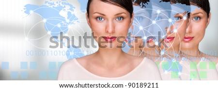 Sok azonos üzletasszonyok digitális átlátszó világtérkép Stock fotó © HASLOO