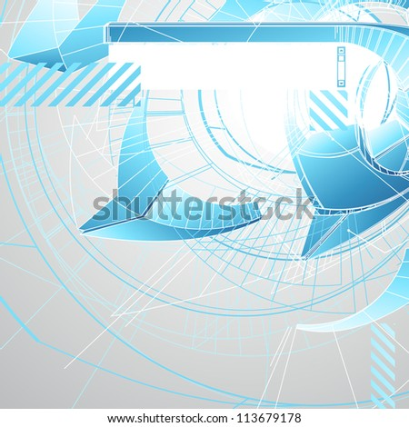 Abstract futuristic 3d high tech design with stylized copy space. Vector illustration. stock photo © prokhorov