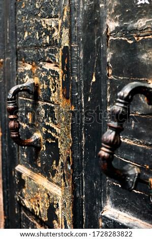 beautiful old distressed antique door knob lock keyhole assembly stock photo © cboswell