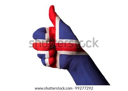 Islândia bandeira polegar para cima gesto excelência Foto stock © vepar5