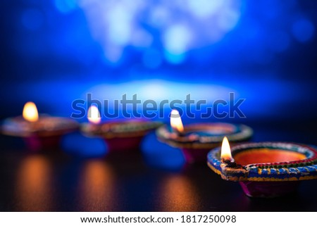 Shiny Colorful Celebration Diwali Oil Lamp Background Illustrati Stock Photo C Bharat