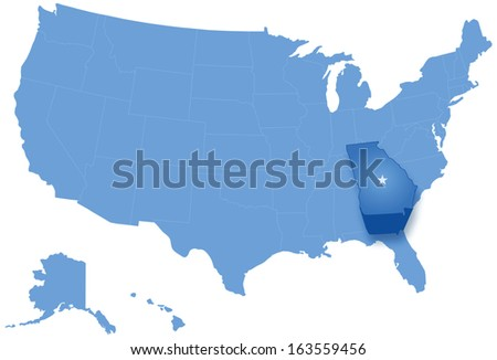 Map of States of the United States where Georgia is pulled out Stock photo © Istanbul2009