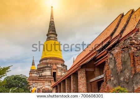 buddha statues at the temple of wat yai chai mongkol in ayutthaya near bangkok thailand stock photo © meinzahn