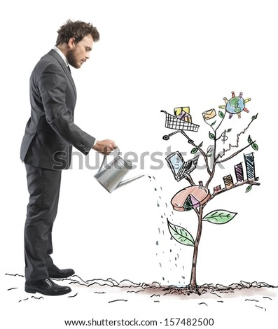 Concept of Growing company with sketch of a tree with business s Stock photo © hasloo