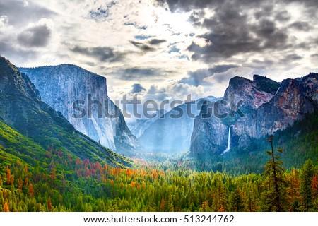 風景 · 山 · 草原 · ヨセミテ国立公園 · 美しい · 滝 - ストックフォト © meinzahn