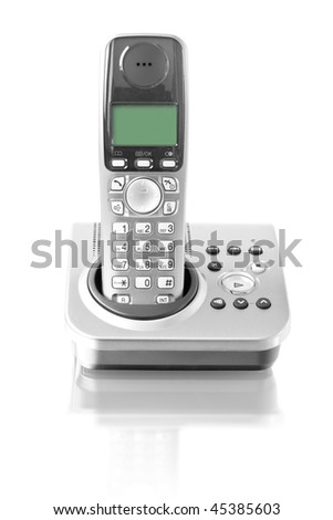 Wireless phone. Cordless phone with reflection on white backgrou Stock photo © stevanovicigor