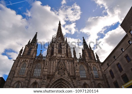 Cathedral of the Holy Cross and Saint Eulalia against blue sky Stock photo © Nejron