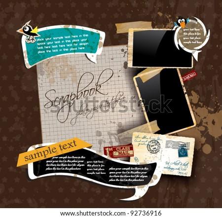 white paper sticker vector frame grunge retro background vinta stock photo © essl