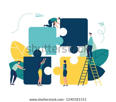 Stock photo: Business people with pieces of puzzle. Teamwork concept. Isolated. Contains clipping path