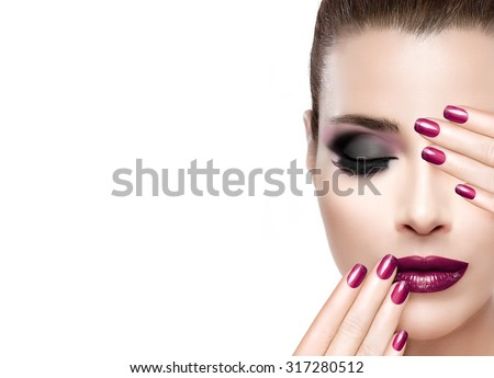 Beautiful attractive woman with half face,  luxury makeup brush of his face Stock photo © Geribody