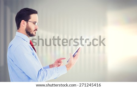 composite image of concentrated businessman touching his tablet stock photo © wavebreak_media