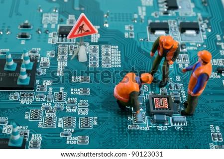 Miniatura engenheiros placa de circuito tecnologia segurança Foto stock © Kirill_M