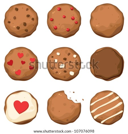 vector set of colorful chocolate chip cookies of different shape stock photo © freesoulproduction
