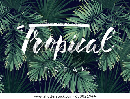 tropical leaves background with white banner palmfernsmonsteras vector illustration stock photo © gladiolus
