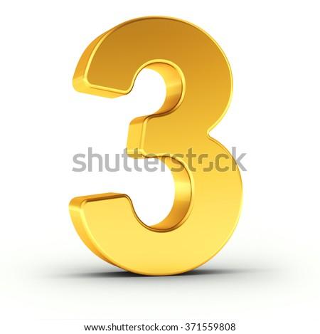 Numer trzy obyty złoty obiektu Zdjęcia stock © creisinger