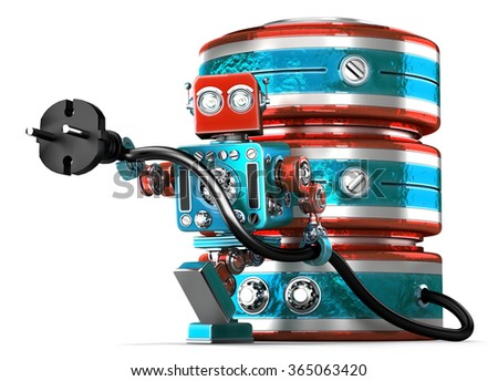 Data base with electric plug. Technology concept. Isolated. Contains clipping path Stock photo © Kirill_M