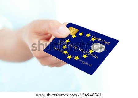 Credit card with European Union flag background for bank, presentations and business. Isolated on wh Stock photo © tkacchuk