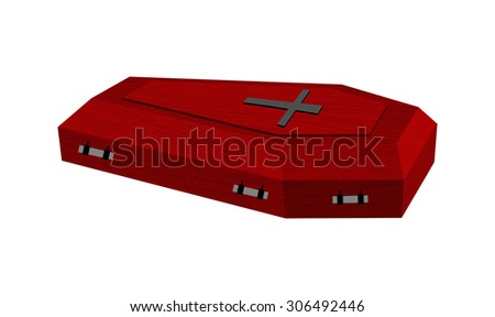 Burgundy expensive coffin for rich with handles on a white backg Stock photo © popaukropa