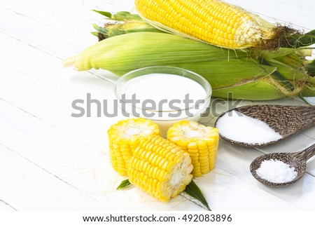 Organic corn from the fields and materials for dessert or food such as milk and etc.Top view and zoo stock photo © Bigbubblebee99