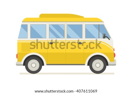 Vintage yellow travel minibus. Camper cartoon van. Tourist coach in flat design with surf board Stock photo © MarySan
