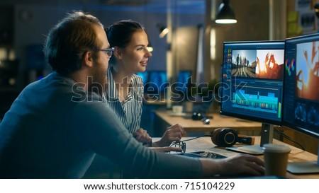 концентрированный · деловые · люди · рабочих · поздно · ночь · служба - Сток-фото © deandrobot