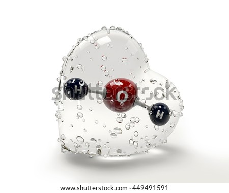 A 3D Illustration molecule of water with a condinsation heart on Stock photo © tussik