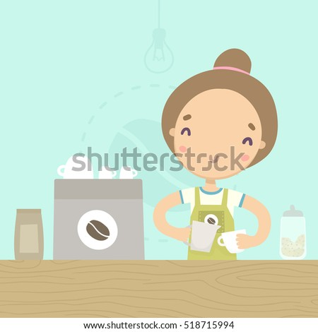 Cartoon barista waitress with cups of hot and ice coffee showing ok sign gesture. Vector illustratio stock photo © maia3000