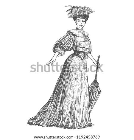 ストックフォト: アンティーク · 女性 · 傘 · スタイル · ファッション · 孤立した