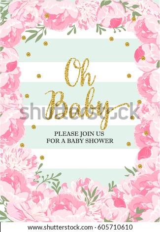beautiful baby shower card template with golden glittering deta stock photo © balasoiu