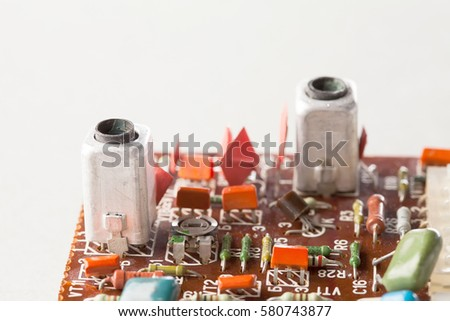 Stock photo: colored electronic components capasitors shallow depth of fie