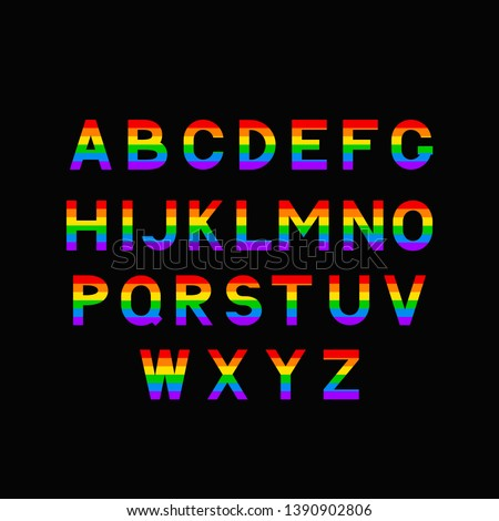 Gay font. Rainbow letters. LGBT ABC for Symbol of gays and lesbi stock photo © popaukropa