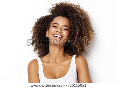 Stock fotó: Gyönyörű · afroamerikai · nő · természetes · göndör · haj · üzlet