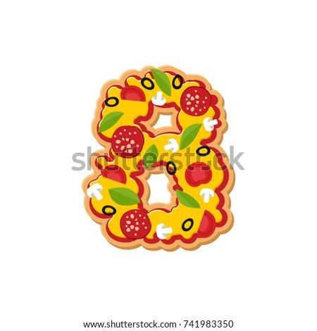 Número pizza fuente italiano comida alfabeto Foto stock © popaukropa